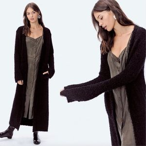 LoveStitch Jade black fuzzy knit duster cardigan